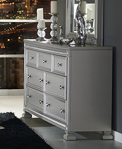 Bevelle 7-Drawer Silver Dresser w/Acrylic Frame by ()