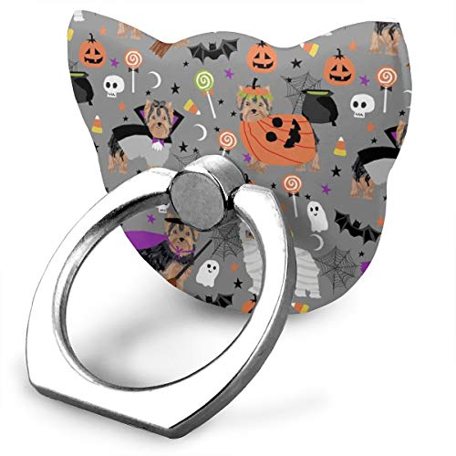 Yorkshire Terrier Yorkie Halloween Costumes Cute Dog Fall Autumn Grey_28015 360 Degree Swivel Creative Ring Buckle Bracket Multi-Functional Ring Bracket Stand for Universal Phone -