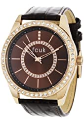 FCUK Women's FC1012JRTT Brown Leather Strap Rose Gold Case Watch