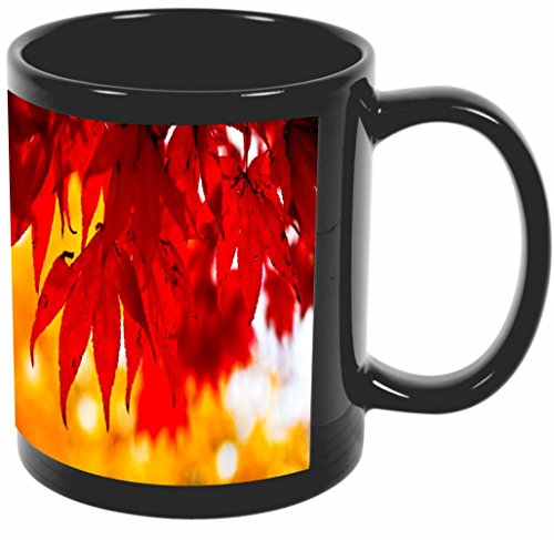 Rikki Knight Fall Leaves Background Design 11 oz Photo Quality BLACK Ceramic Coffee Mugs Cups - Dishwasher and Microwave Safe