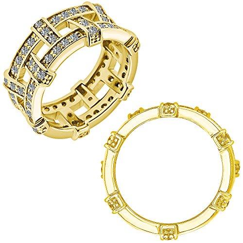 Diamond Love Knot Eternity Ring (1 Carat G-H Diamond Engagement Wedding Anniversary Eternity Knot Rope Band Ring 14K White And Yellow Gold)