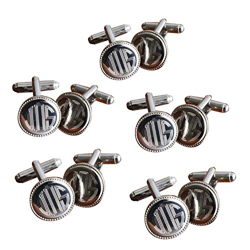 A Gift Personalized Monogrammed Silver Round Beaded Cufflinks - Set of 5