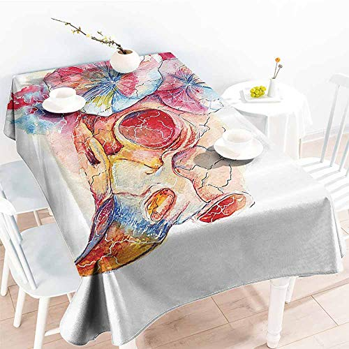 - Fabric Dust-Proof Table Cover Skull Decorations Raven in Bougainvillea Flower Frightening Mammal Motley Cycle Hand Drawn Print Multi Easy to Clean W54 xL84