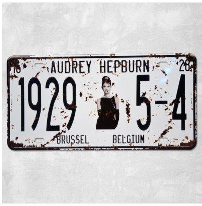 1-x-audrey-hepburn-19295-4-vintage-auto-license-plate-embossed-tag-size-6-x-12