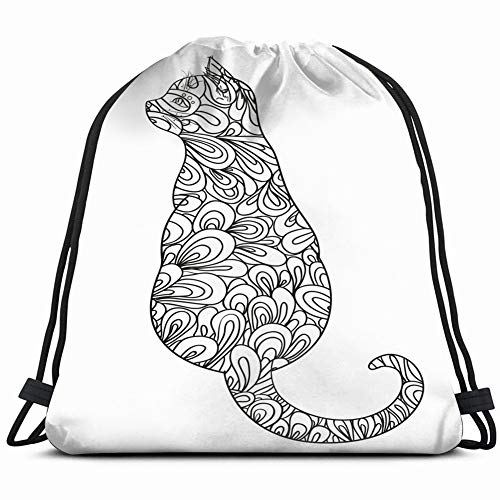 cat on white zentangle hand drawn animals wildlife adult Lightweight Drawstring Bag Sport Gym Sack Bag Backpack 17X14 Inch ()