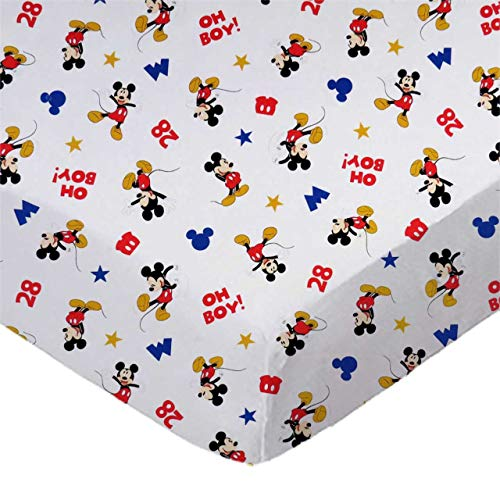 Sheetworld Fitted 100 Cotton Percale Portable Mini Crib Sheet 24 X 38 Oh Boy Mickey Mouse Made In Usa