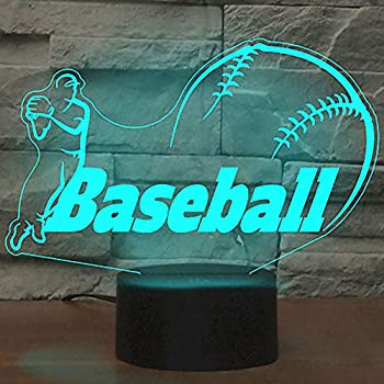 Baseball Night Light, YKL WORLD 3D Optical Illusion Table Lamp 7 Color Changing Touch Control with USB Cable Kids Toys Bed Room Decor Best Birthday Gifts for Boys Baseball Lover