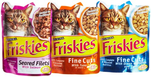 Friskies Gravy Sensation Sea food corporation, 3-Flavor Variety Pack, 3-Ounce Pouches (Pack of 24), My Pet Supplies