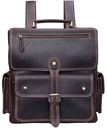 ALTOSY Crazy Horse Leather Backpack Vintage Travel Leather Tote Shoulder Laptop Bag (YD8057, Coffee) by ALTOSY