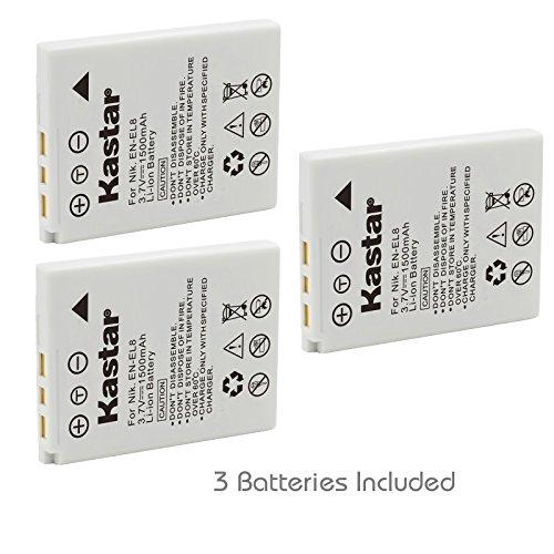 Kastar Battery 3 Pack for Nikon EN-EL8 ENEL8 Coolpix P1 P2 Coolpix S1 S2 S3 S5 Coolpix S6 Coolpix S7 S7c Coolpix S8 Coolpix S9 Coolpix S50 Coolpix S51 S51c Coolpix S52 S52c Cool-Station MV-11 MV-121