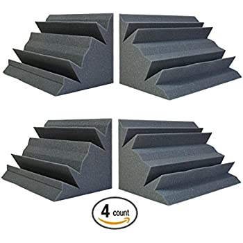 "Acoustic Foam Bass Trap Studio Soundproofing Corner Wall 12"" X 7"" X 7"" (4 PACK)"