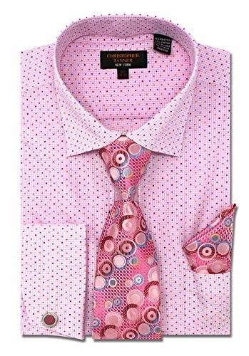 Christopher Tanner Men's Regular Fit Dress Shirts with Tie Hanky Cufflinks Combo French Cuffs Checks Dot Printed Pattern ()
