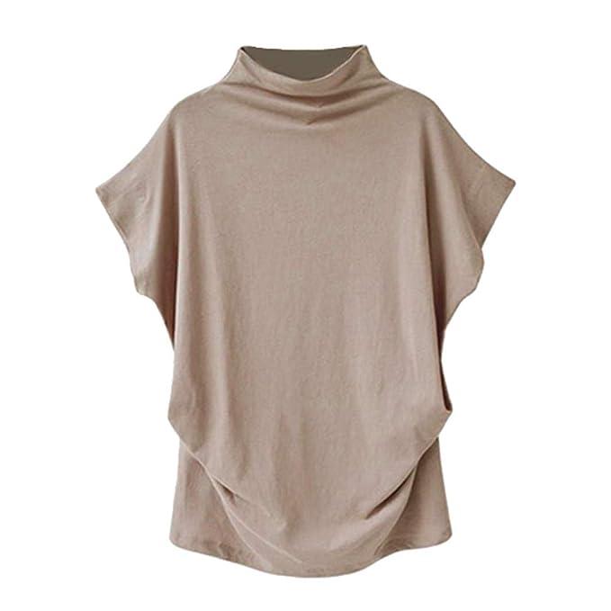 Bestow Camisa Suelta con Cuello Alto para Mujer de Manga Corta Blusa Informal Top T Shirt