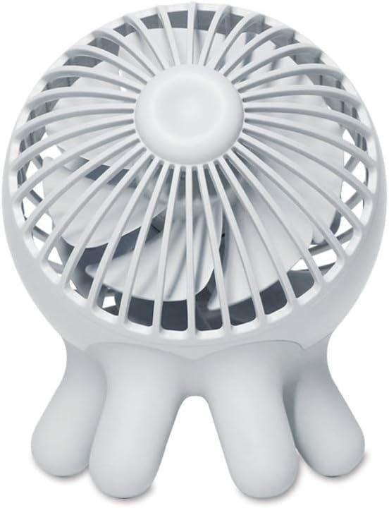 Chihen Small Fan USB Table Fan Silent 2 Speed Electric Fan Portable Rechargeable Fan Office Home Outdoor Mini Fan Color : Light Gray with Built-in Battery