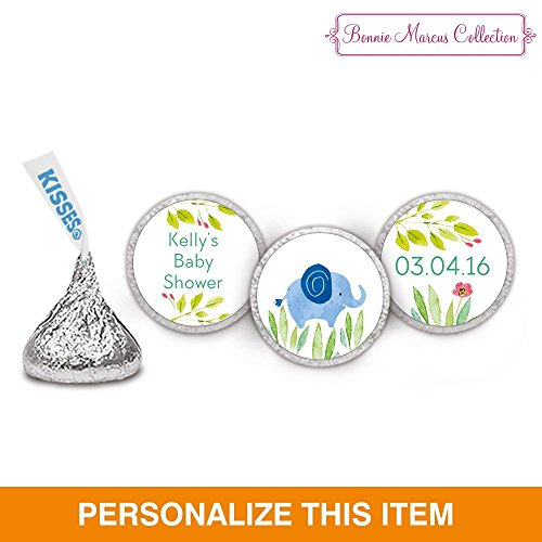 Bonnie Marcus Safari Snuggles Baby Shower HERSHEY KISS Stickers - Blue (108 Count)