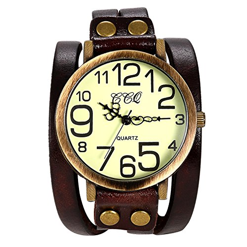 Lancardo Vintage Ladies Large Arabic Markers Multi Layers Leather Wrap Cuff Bracelet Wrist Watch(Brown)