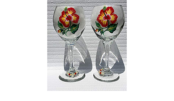 Miss You Gift Birthday Wine Glasses Hand Painted Red and Yellow Hibiscus and Wine Glass Charms Set of 2 Anniversary