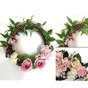 Adeeing 12 Inches Floral Artificial Rose Green Leaves Flower Rattan Wreath Door Hanging Wall Window Decoration Holiday Festival Wedding Decor, Pink 4