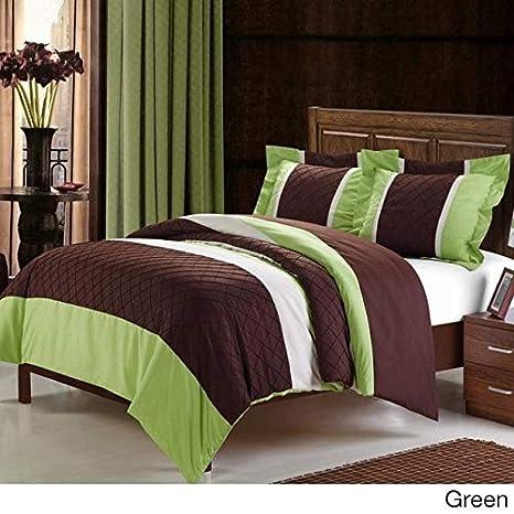 Chic Home 3-Piece Marlene Duvet Cover Set Queen Green//Brown 135DSQ103-AN