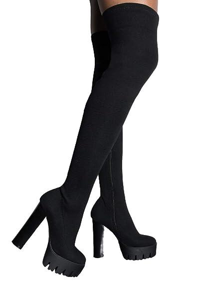 148ef2881 AZALEA WANG Stretch Knit Thigh High Lug Sole Platform Chunky Heel Boots- BLACK KNIT_7.
