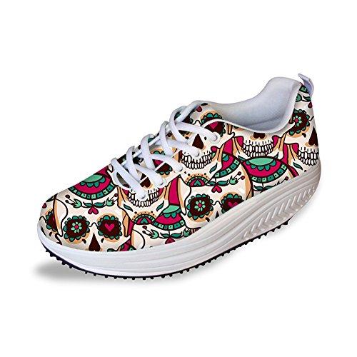 For U Design Mote Skallen Utskrift Fitness Walking Sneaker Uformelle Kvinners Kiler Platåsko Rosa
