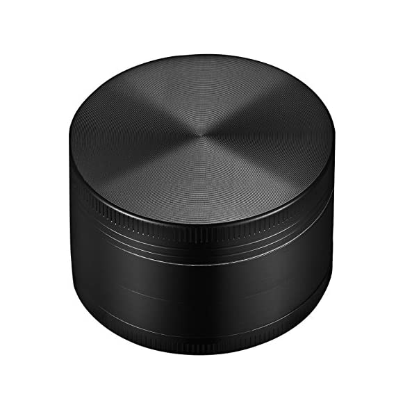 "OMorc Spice Herb Grinder, 4 Piece 2"" Grinder with Pollen Scraper, 4-in-1 Premium Zinc Alloy Spice Herb Grinder with Razor-sharp Teeth and Pollen Catcher (Black) 1 Solid and sturdy construction. Crafted with premium zinc alloy, our 4-layer and 3-chamber designed herb grinder ensures optimal performance and exceptional durability for constant use. Efficient grinding and filtering. There are up to 30 sharp teeth on the top layer and 24 sharp teeth on the second layer for crushing Dry herbs smoothly and efficiently. The metal fine mesh screen filter separates the chunky herbs from the finer particles. Easy collection. In the bottom catcher, you can collect fine particles with the provided Scraper that helps reduce waste. Moreover, the scraper helps clean the leftover herbs."