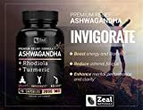 Premium Ashwagandha Complex - Organic Ashwagandha + Rhodiola Rosea + Turmeric - 100% Pure Ashwagandha Extract Capsules - Adrenal Support and Occasional Stress Relief