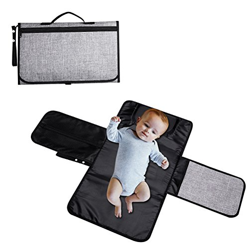 Portable and Lightweight Diaper Changing Pad Travel Changing Station Kit with Pockets and Head Cushion for Baby Infants Toddlers and Newborns Diapering