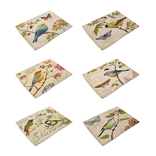 HACASO Set of 6 Vintage Style The Painting Bird Pattern Dining Table Mats Cotton Linen Placemats (Paintings Bird Vintage)