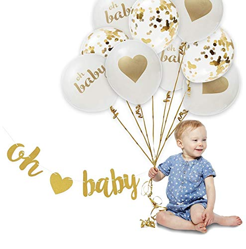 KALOR 12 Inch 'Oh Baby' Set Helium Balloons for Birthday Party Baby Shower Decoration Supplies -