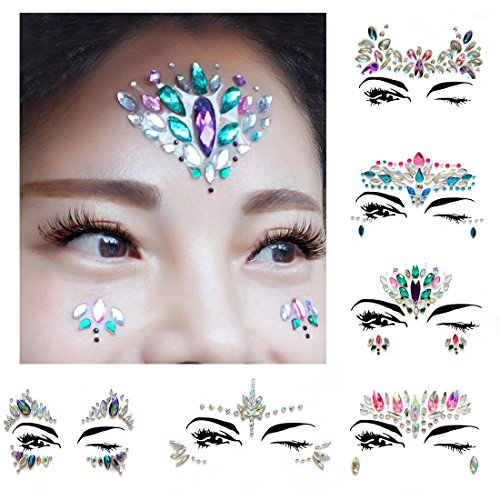 AooHome 6 Sets Festival Face Jewels Tattoos Glitter, Self-adhesive Eyes Face Body Crystal Stones Tattoo Stickers for a Dress-Up or Costume Party]()