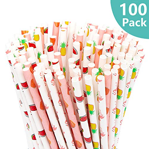 Paper Straws, 100 Pcs Biodegradable Disposable Straw, Flamingo/Pineapple/Watermelon/Strawberry Drinking Straws for Christmas Birthday Wedding Baby Shower New Year Celebrations & Party Supplie