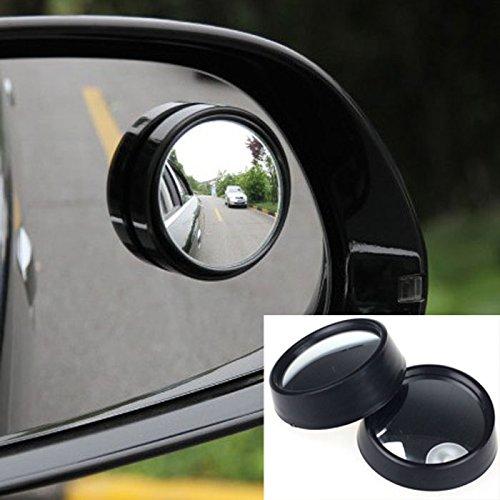 Quaanti 2017 New Mirror for Car 2 Pcs Round Stick-On Convex Rearview Blind Spot Mirror Set Car-Styling (Black)