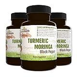 Botaniceutics Organic Turmeric, Moringa, and Black Pepper – 360 Capsules – 3 Bottle Pack. 500 Mg