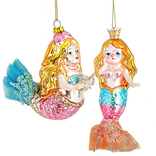 Pink and Blue Golden Haired Mermaids Christmas Holiday Ornaments Set of 2 Glass