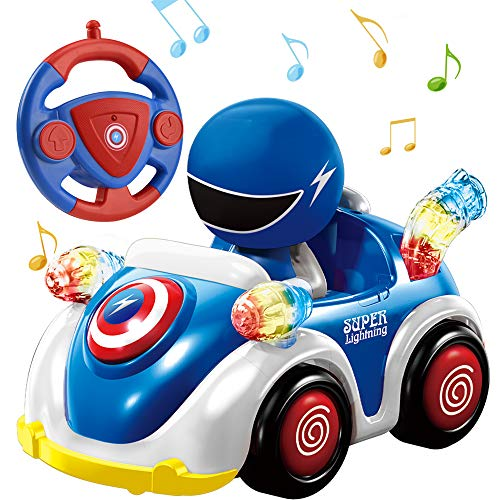 Remote Control Car for Toddlers RC Cartoon Race Car with Music and Lights 2.4GHz Radio Control RC Toy Car for Kids Blue