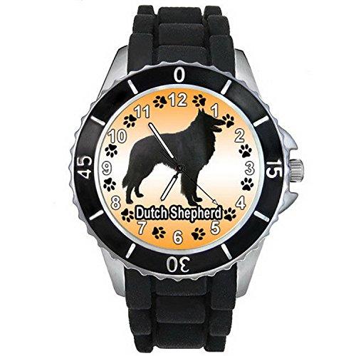 BMSC1323 Dutch Shepherd Dog Black Jelly Silicone Strap Unisex Sports Wrist - Jelly Dutch