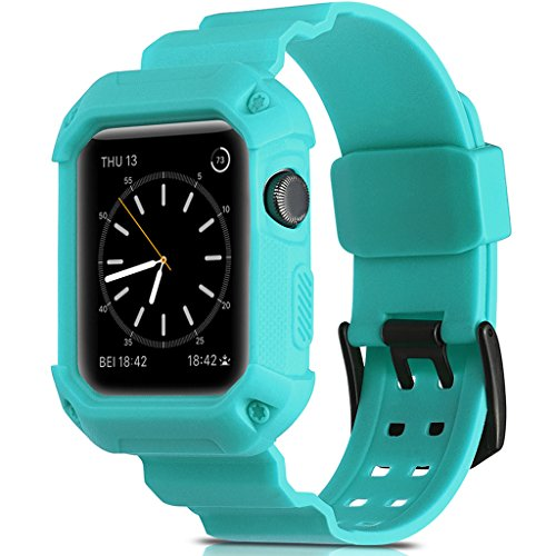 Compatible Apple Watch Band 42mm Case,Camyse Shockproof Rugged Protective Cover Strap Bands Stainless Steel Clasp iWatch Apple Watch Series 3, 2, 1 Sport & Edition Men Women Grils Boys - Green