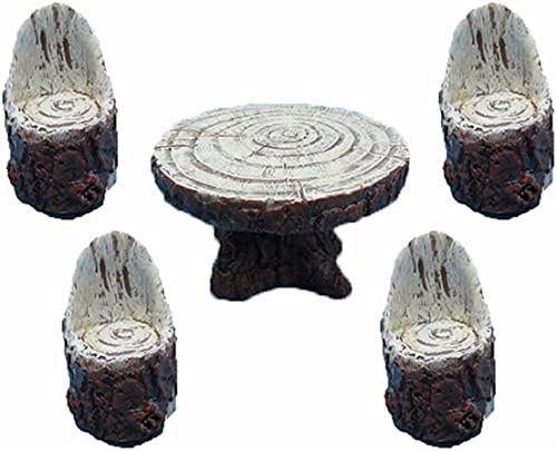 Hi-Line Gift Ltd Fairy Garden Wooden Table with 4-Chairs Figurines