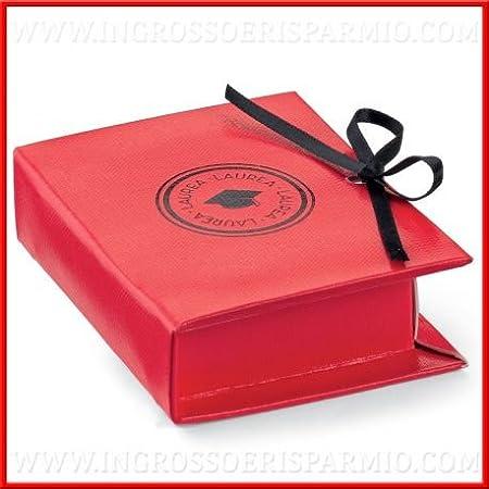 Ingrosso y bajo caja para dulces (cartón duro rojo con forma de libro cerrado de un lazo con impresión sobre Cubierta a forma de Tocco Negro – Bomboniere laurea: Amazon.es: Hogar