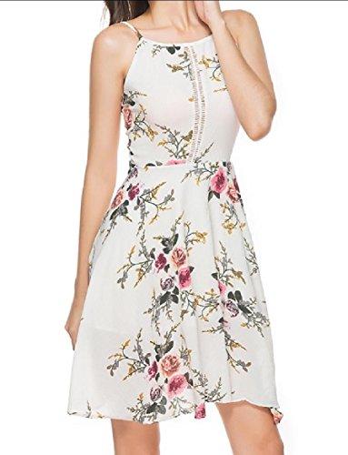 Pretty Printed Elegant White Backless Chiffon Sling Flower Dress Coolred Beach Women tq4Ec7