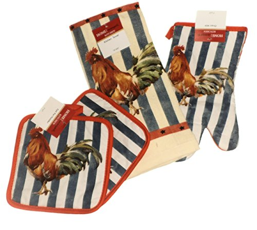 4 Piece Rooster Country Stripe Design Kitchen Set With 2