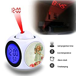 Projection Alarm Clock Wake Up Bedroom with Data and Temperature Display Talking Function, LED Wall/Ceiling Projection,Customize the pattern-810.Vintage, Little Girl, Kitten, Pet