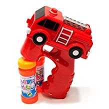 LilPals BEST RED FIRE TRUCK BUBBLE GUN SHOOTER- WITH LIGHT AND SOUNDS, WITH 2 BUBBLE SOLUTIONS, FOR KIDS 3 YEARS AND UP