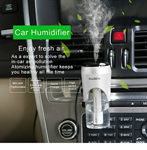 BASEIN Car Humidifier with Dual USB Charger, Car Essential Oil Diffuser Vent Clip Air Diffuser Portable Mini USB Humidifier for Car, Office, Home