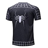 HOCOOL Mens Fashion Spiderman Logo Quick-Dry Short Sleeve T-Shirt L