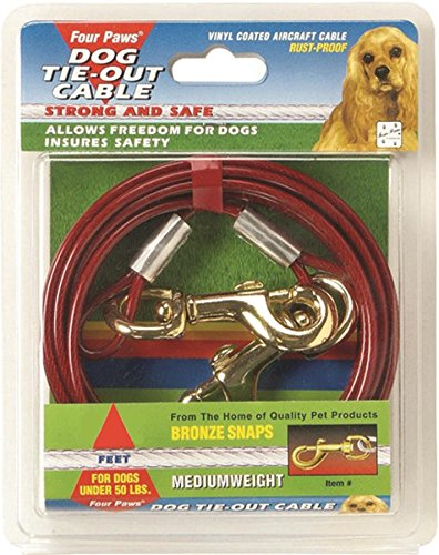 Four Paws PRODUCTS 456900 Red Cable Dog Tieout, (Four Paws Dog Tie Outs)