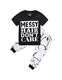 "Kids Baby Girl Boy Outfit Clothing Set-""Messy Hair Don't Care"" Tops+Long Pants 2Pcs"