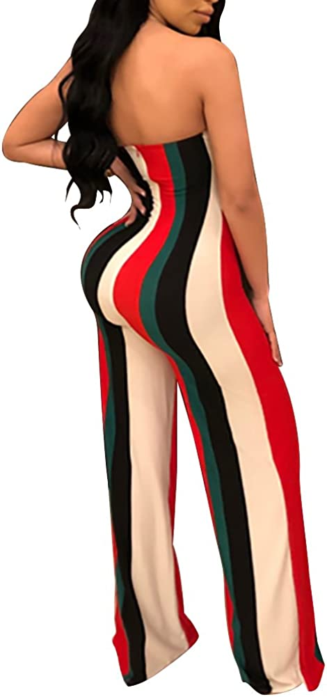 Lajiojio Women Off Shoulder Strapless Color Block High Waist Casual Wide Leg Pants Jumpsuit