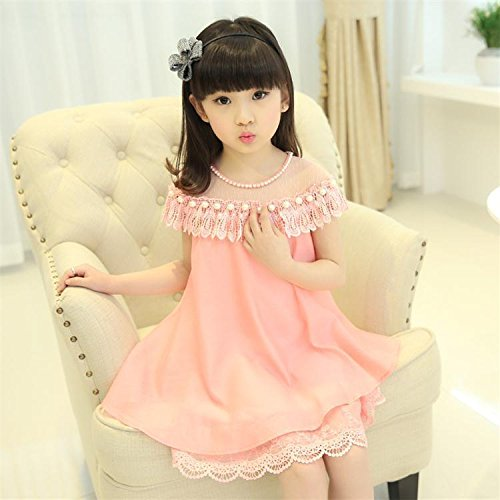 Autumn Water Summer Costume Little Girls Princess Dress Children's Casual Clothes Kids Chiffon Pearl Lace Girl Party Holiday Dresses by Autumn Water